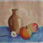 Vase, fruit and daisy